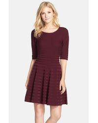Ivanka Trump - Purple Fit & Flare Sweater Dress - Lyst