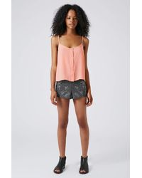 TOPSHOP Pink Button Front Strappy Cami
