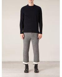 Side Slope - Blue Crew Neck Sweater for Men - Lyst