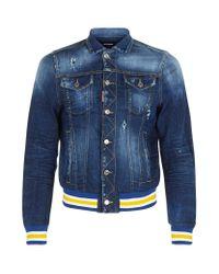 DSquared² - Blue Distressed Denim Varsity Jacket for Men - Lyst