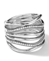 Ippolita Metallic Sterling Silver Multi-band Ring With Diamonds (0.32ctw)