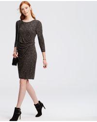 Ann Taylor Gray Petite Heathered Ruched Jersey Sheath Dress