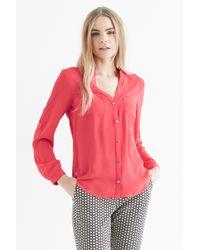 Oasis - Red Neru Collar Split Back Shirt - Lyst