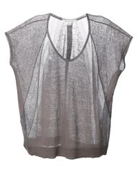 Duffy - Gray Semisheer Fine Knit Sweater - Lyst