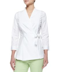 Lafayette 148 New York | White Jillian Wrap Blouse W/ Side-tie | Lyst