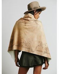 Free People Natural Sherpa Lined Hand Painted Pullover