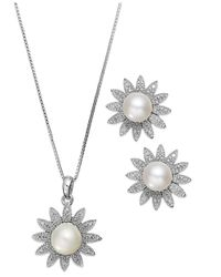 Macy's | Metallic Sterling Silver Cultured Freshwater Pearl (6mm) And Diamond Accent Flower Necklace And Earrings Set | Lyst