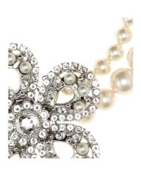 Miu Miu Natural Pearl Necklace with Crystalembellished Flower