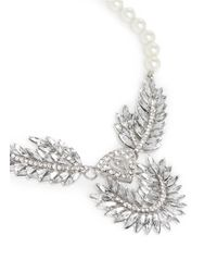Kenneth Jay Lane | Metallic Pearl And Crystal Feather Necklace | Lyst