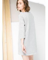 Mango - Gray Stripe Textured Dress - Lyst