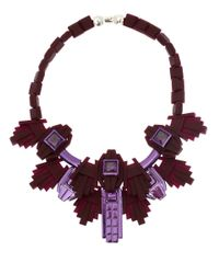 EK Thongprasert | Red Burgundy Art Deco Silicone and Cubic Zirconia Necklace | Lyst