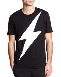 Neil Barrett Black Lightning Cotton T-shirt for men