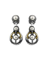 Konstantino | White Silver & 18k Triple-pearl Drop Earrings | Lyst