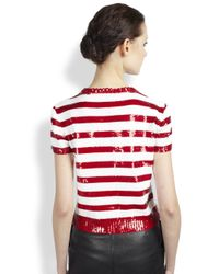 Saint Laurent - Red Sequin Stripe Sweater - Lyst