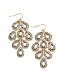 INC International Concepts - Metallic Gold-tone Stone Leaf Chandelier Earrings - Lyst