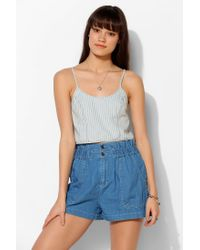 BDG - Blue Allover Print Chambray Cropped Tank Top - Lyst