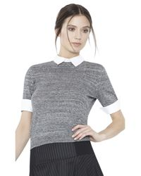 Alice + Olivia Gray Short Sleeve Fitted Crew Neck Sweater With Collar