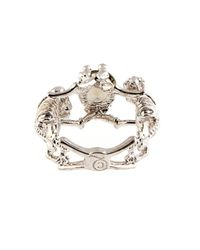 Alexander McQueen Metallic Double-Skeleton Crystal Ring