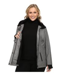 Jessica Simpson | Gray Plus Size Zip Front Soft Shell With Faux Fur | Lyst