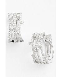Bony Levy Metallic 'solstice' Crossover Diamond Hoop Earrings