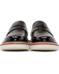 Jimmy Choo Black Leather Leon Penny Loafers for men