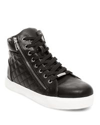 Steve Madden Black Decaf Quilted Lace-up Sneakers