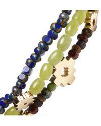 Luis Morais Blue Gold, Jadeite And Glass Bead Bracelet Set Of 3 for men