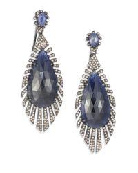 Bavna | Blue Diamond, Sapphire & Sterling Silver Drop Earrings | Lyst