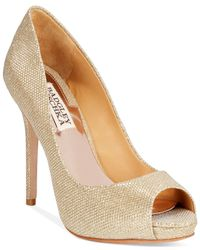 Badgley Mischka | Ponderosa Metallic Peep-Toe Pumps | Lyst