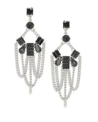 ABS By Allen Schwartz | Metallic Dark Crystal Chandelier Earrings | Lyst
