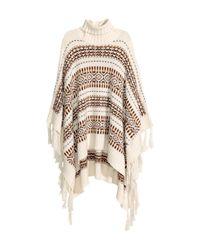 H&M - Natural Jacquard-knit Poncho - Lyst