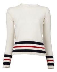 Thom Browne - White Striped Detail Sweater - Lyst