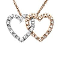 Lord & Taylor | Metallic Diamond Double Heart Pendant Necklace | Lyst