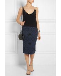 M Missoni Blue Patterned Stretch-Knit Pencil Skirt