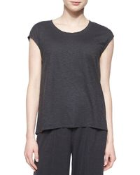 Eileen Fisher - Gray Short-sleeve Hemp Twist Box Top - Lyst