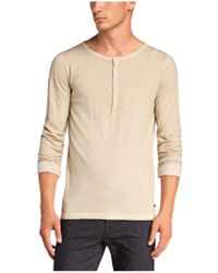 BOSS Orange Natural Long-sleeve Shirt 'toulson' With A Round Neckline for men