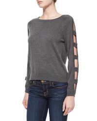 MILLY - Gray Open Bar Long-sleeve Pullover - Lyst
