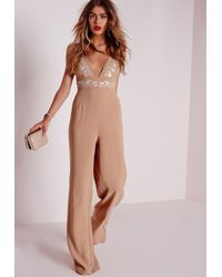 Missguided | Natural White Embroidery Jumpsuit Nude | Lyst