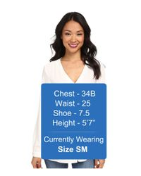 Vince Camuto - White Long Sleeve V-Neck Blouse W/ Inverted Front Pleat - Lyst