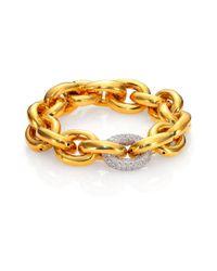 Eddie Borgo | Metallic Single Pave Link Bracelet/goldtone | Lyst