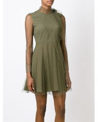 RED Valentino - Green Polka Dot Flared Dress - Lyst