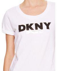 DKNY - White Jeans Logo Tee - Lyst