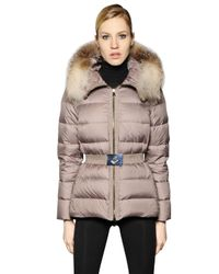 Moncler Natural Fabrette Nylon & Micro Lux Down Jacket