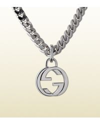 Gucci | Metallic Silver Necklace With Interlocking G Pendant | Lyst