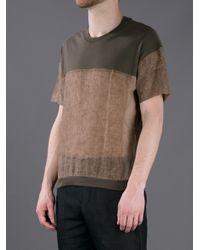 Stephan Schneider Brown Contrast Panel Tshirt for men
