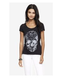 Express Black Scoop Neck Graphic Tee - Lace And Rhinestone Skull