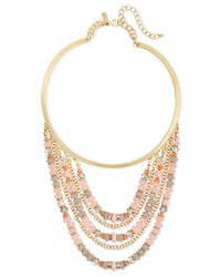 INC International Concepts | Gold-tone Pink Bead Multi-row Collar Necklace | Lyst