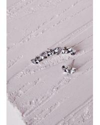 Missguided - Metallic Crystal Ear Cuff Stud Set Silver - Lyst