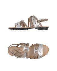 Tod's - Metallic Sandals - Lyst