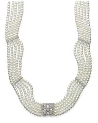 Macy's - Metallic Sterling Silver Necklace, Cultured Freshwater Pearl (2-1/2-2-9/10mm) And Diamond (3/8 Ct. T.w.) 5-row Necklace - Lyst